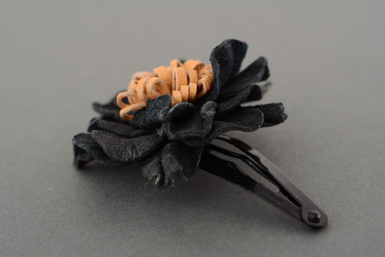 Leather hair clip Black Poppy photo 2