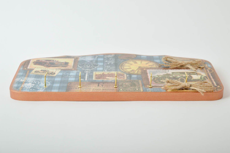 Accroche clés mural Range clés fait main bois Décor intérieur 5 crochets métal photo 5