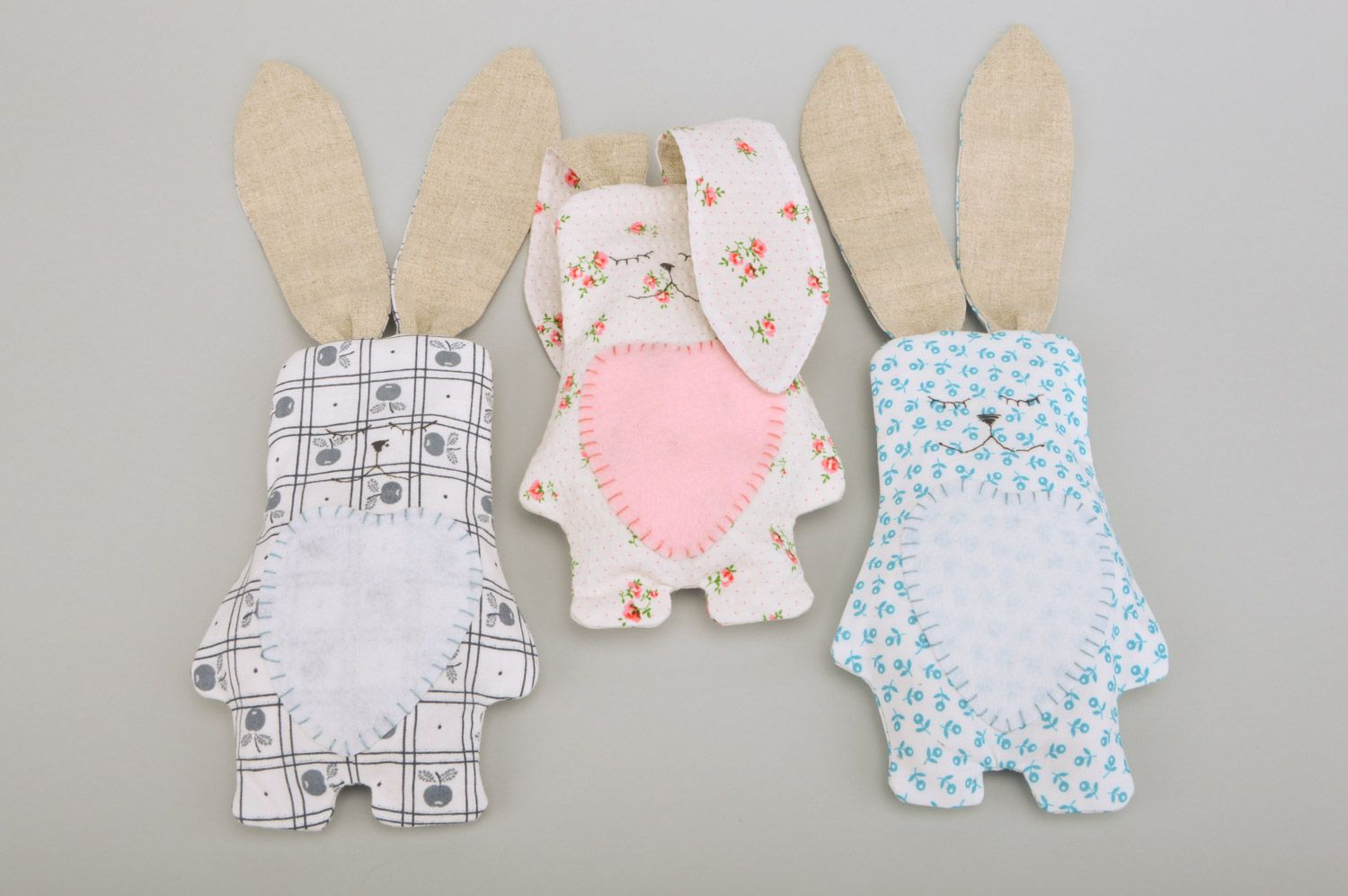 Handmade soft toy rabbit with long ears sewn of cotton fabric with floral print photo 5