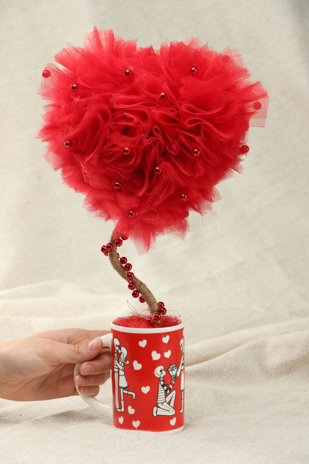 Heart shaped tulle topiary photo 4