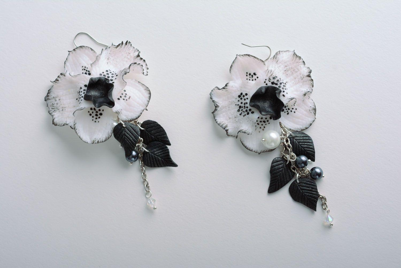 Homemade long earrings Black Orchid photo 1