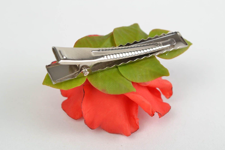 horquillas Pinza para el pelo artesanal de porcelana fría clip con forma de rosa roja ,
