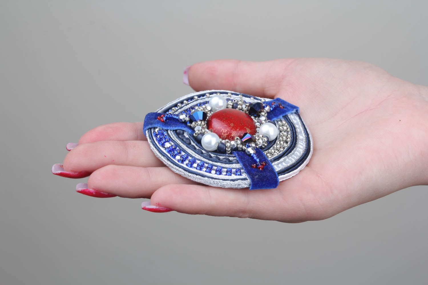 Brooch with soutache ribbon photo 5