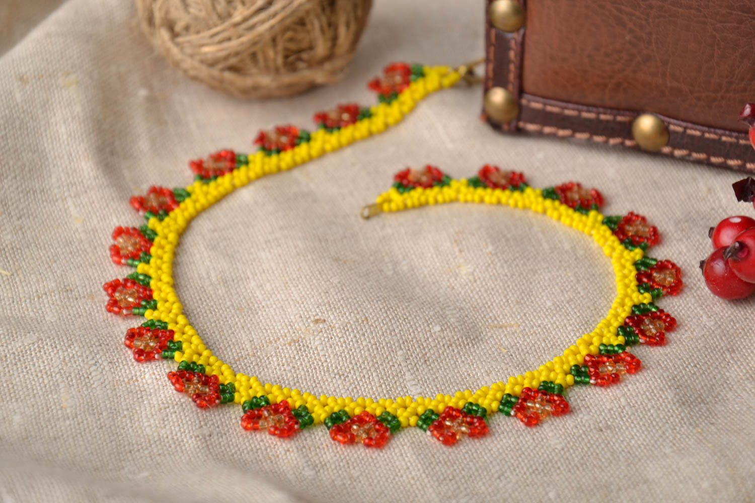 Bright beaded necklace photo 1