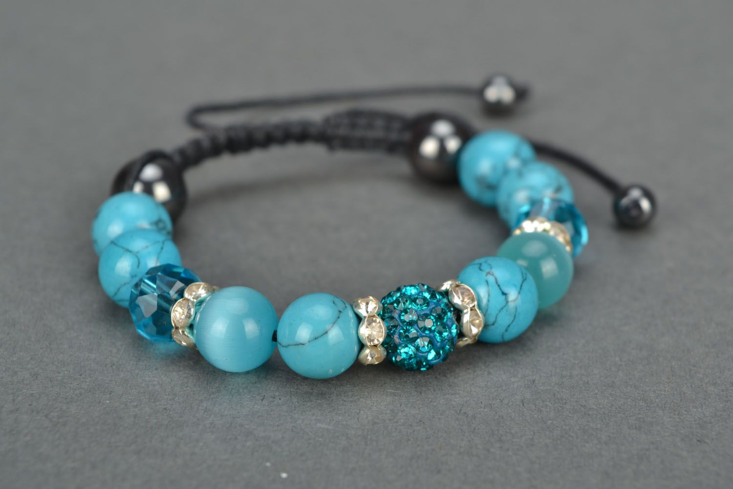 Homemade bracelet with natural stones Blue Sky photo 3