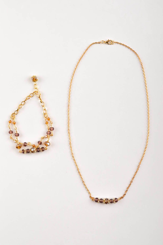 Handmade Schmuck Set Collier Halskette Damen Armband  mit Kristallen modisch foto 2