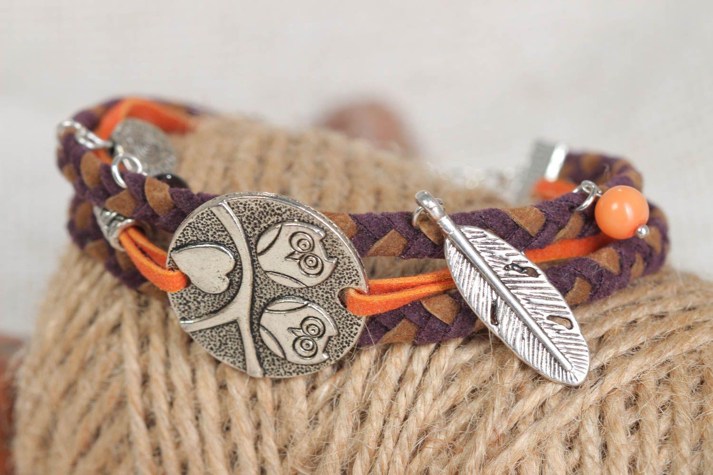 Handmade festive bracelet leather unusual accessory beautiful wrist jewelry photo 1