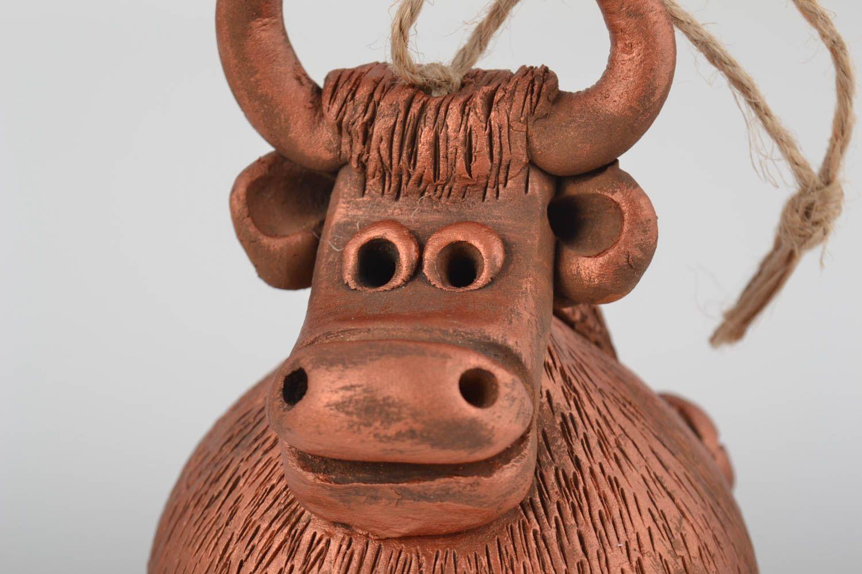 Beautiful brown handmade designer ceramic bell with painting Bull photo 2