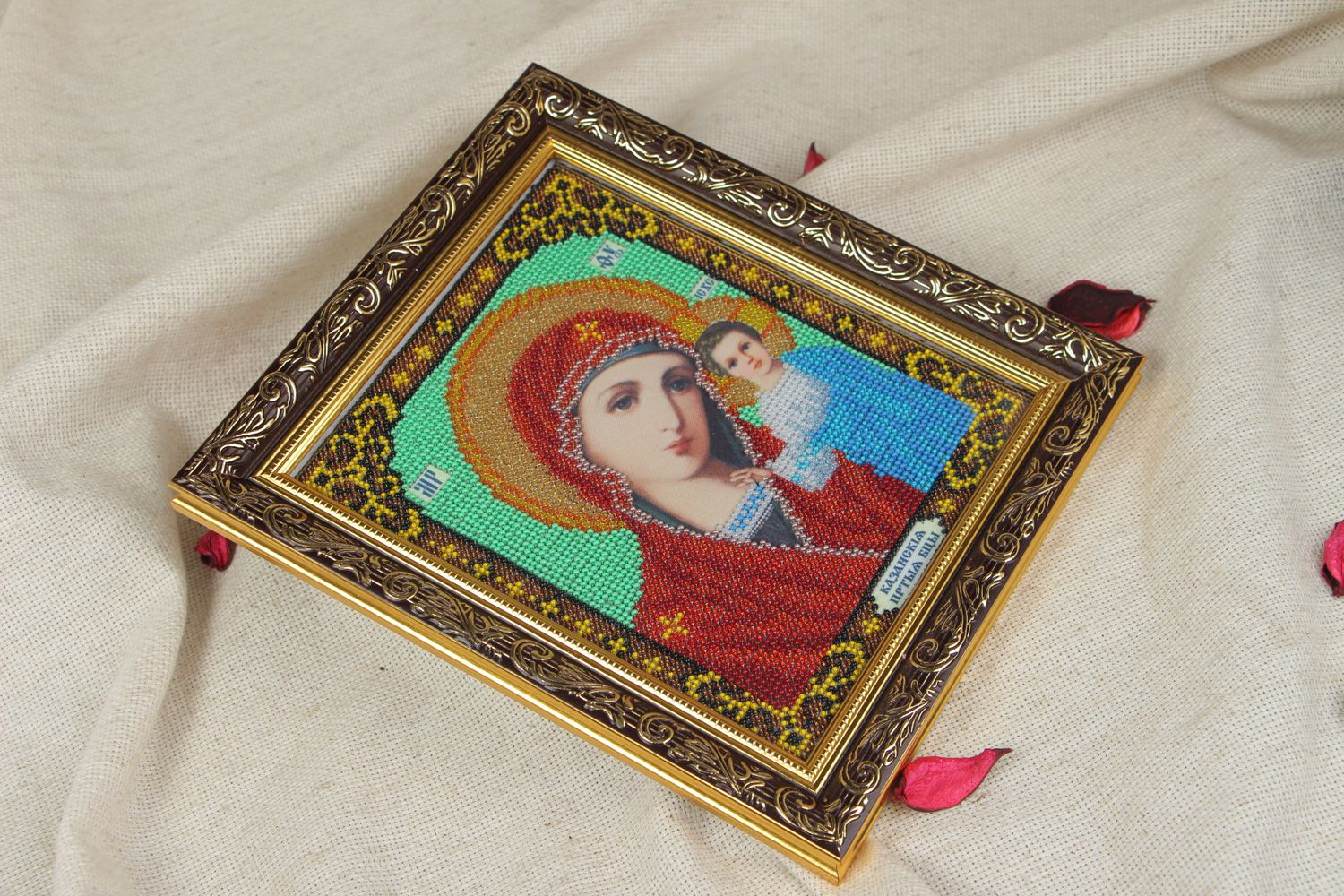 Handmade bead embroidered icon of the Kazan Mother of God present for believer photo 5