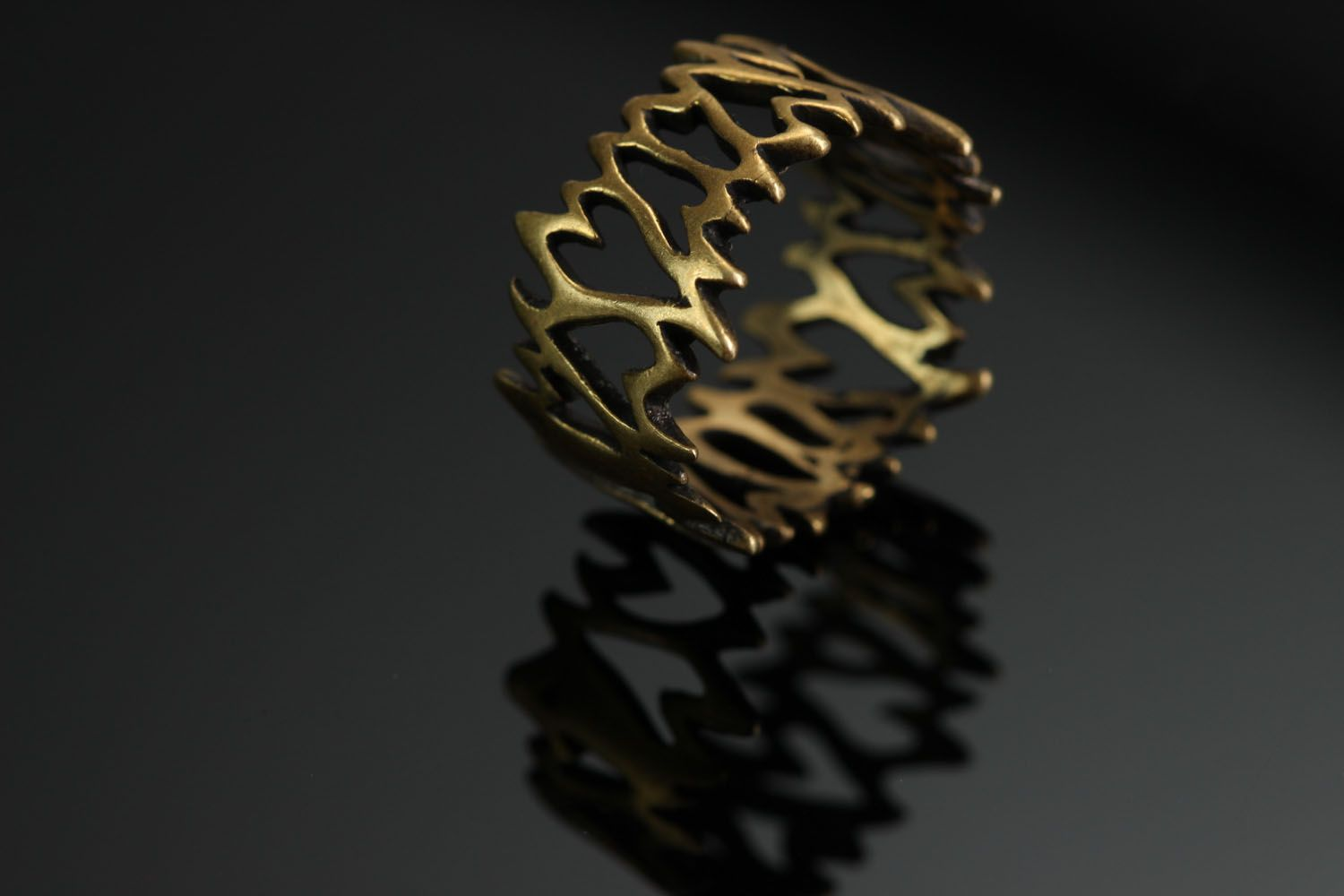 Bronze seal ring Lattice photo 2