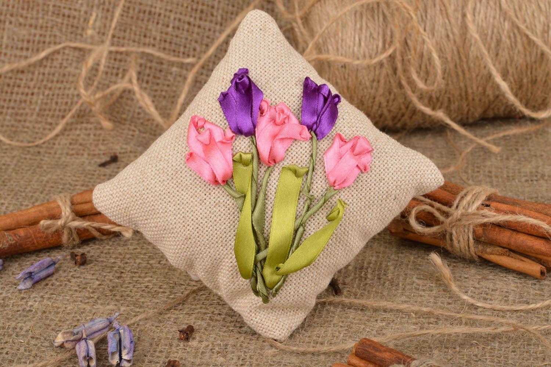 Handmade decorative fabric sachet pillow with satin ribbon embroidery for decor photo 1