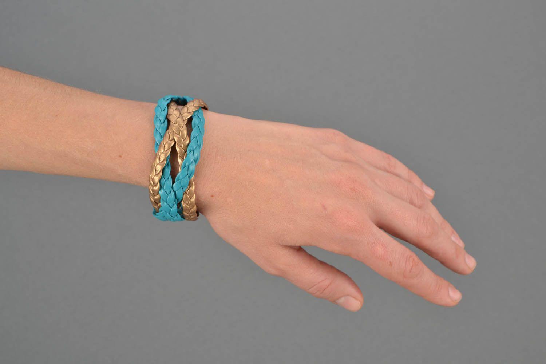 Плетеный кожаный браслет фото 2