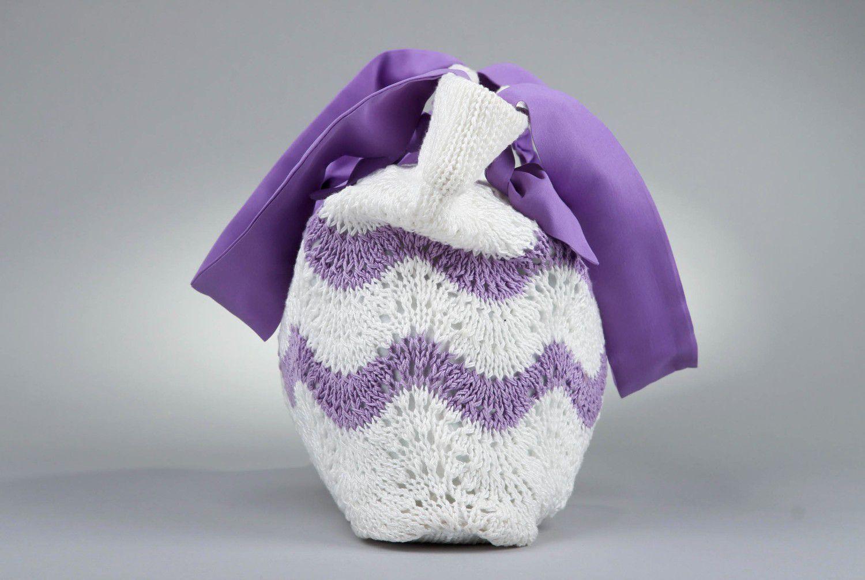 Stylish knitted cotton bag photo 2