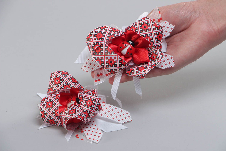 Set of handmade kanzashi satin fabric hair ties 2 pieces for girl photo 5