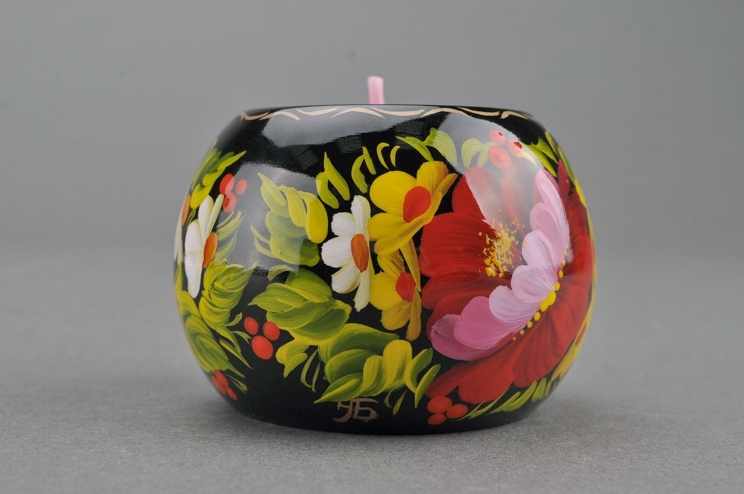 Candlestick wooden barrel Peony photo 2