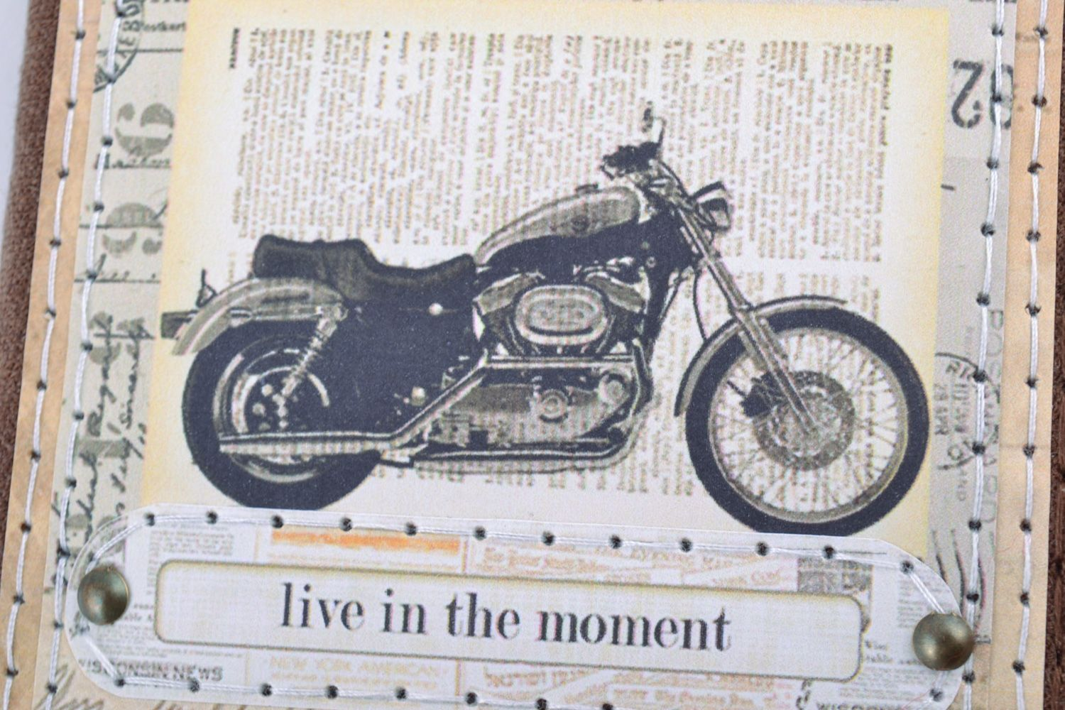 Handmade beautiful notebook with fabric cover with the image of retro motorbike photo 2