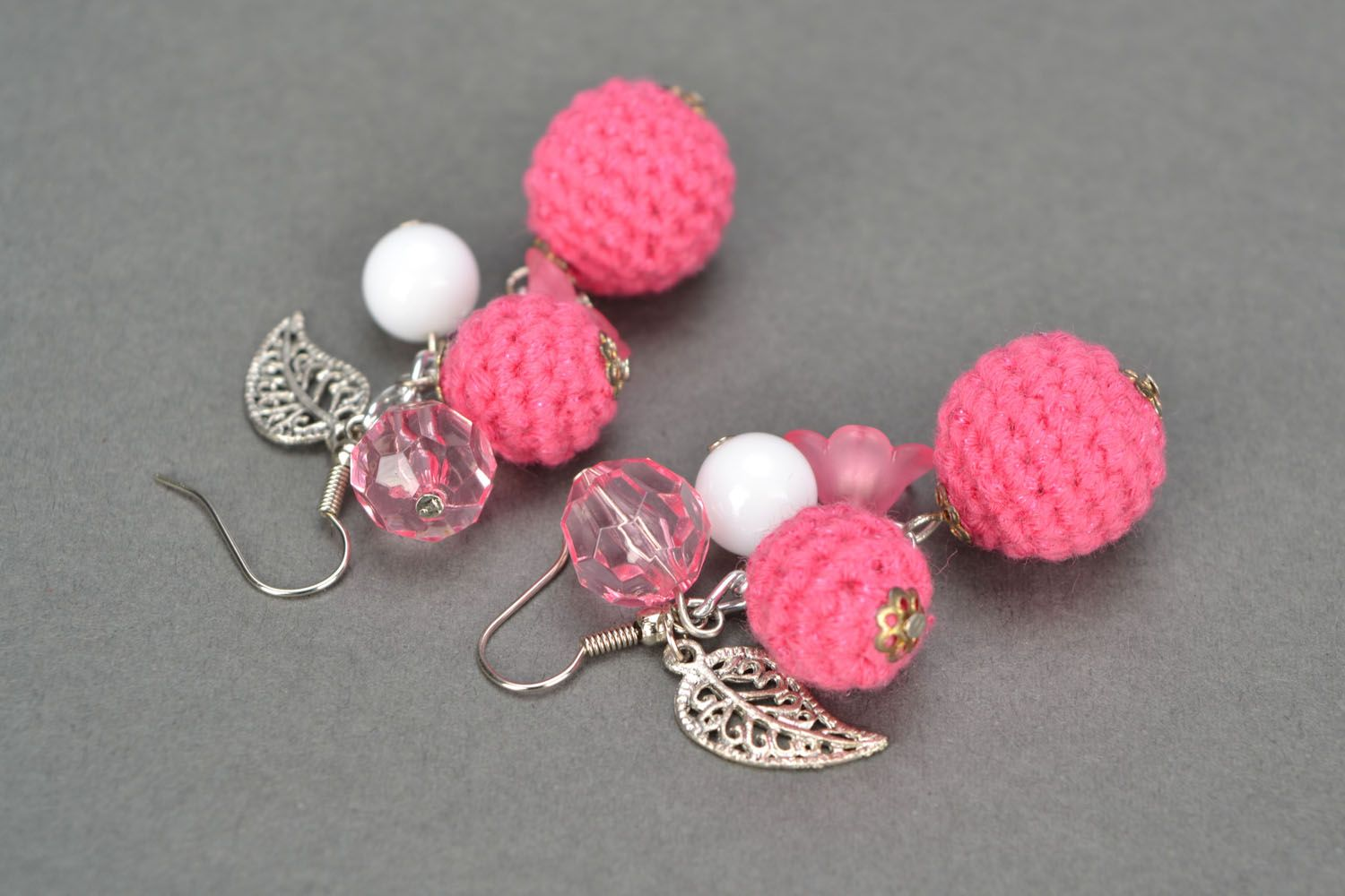 Lace earrings with charms Pink Hope photo 4