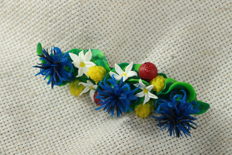 Polymer clay flower hair clip photo 1