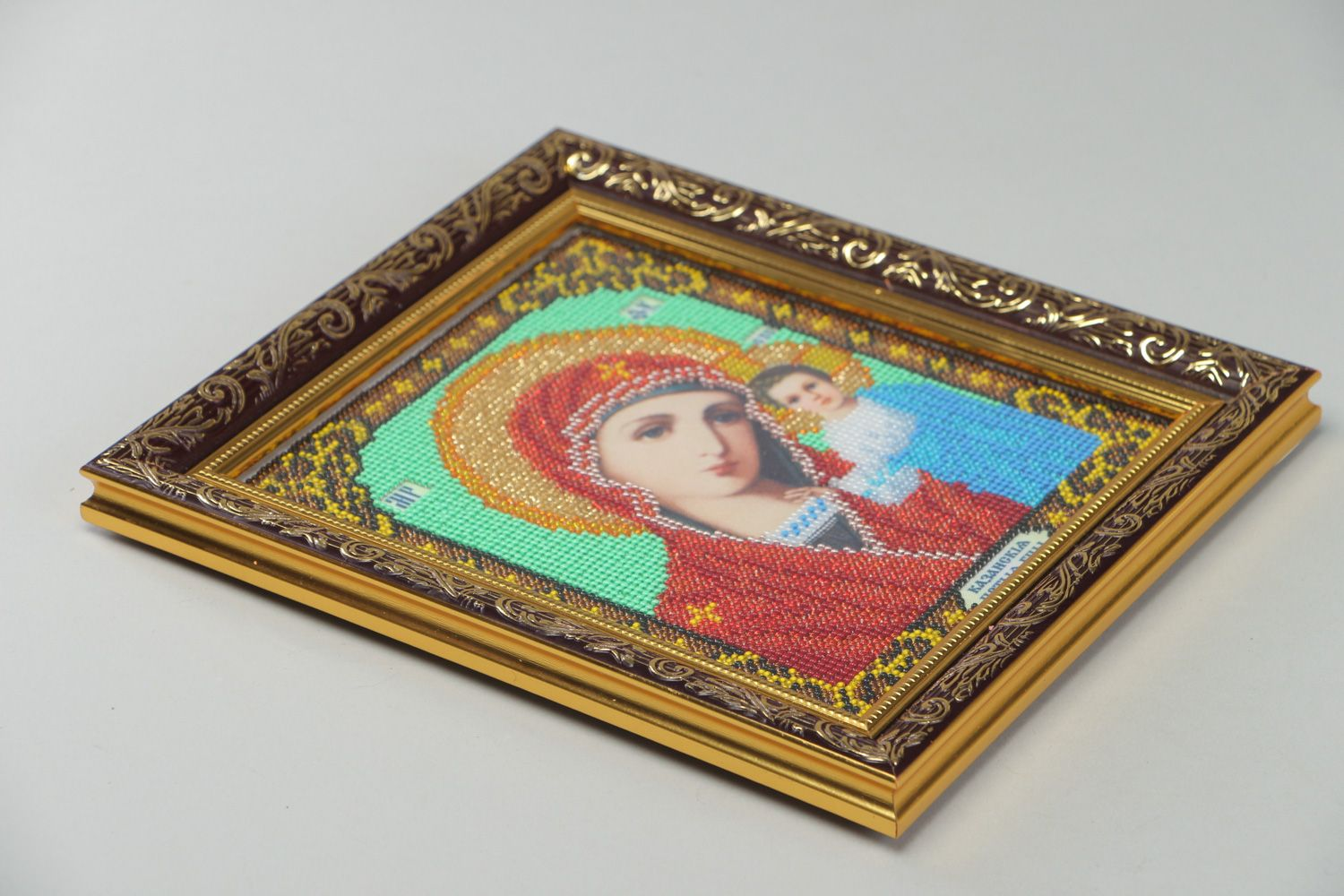 Handmade bead embroidered icon of the Kazan Mother of God present for believer photo 3