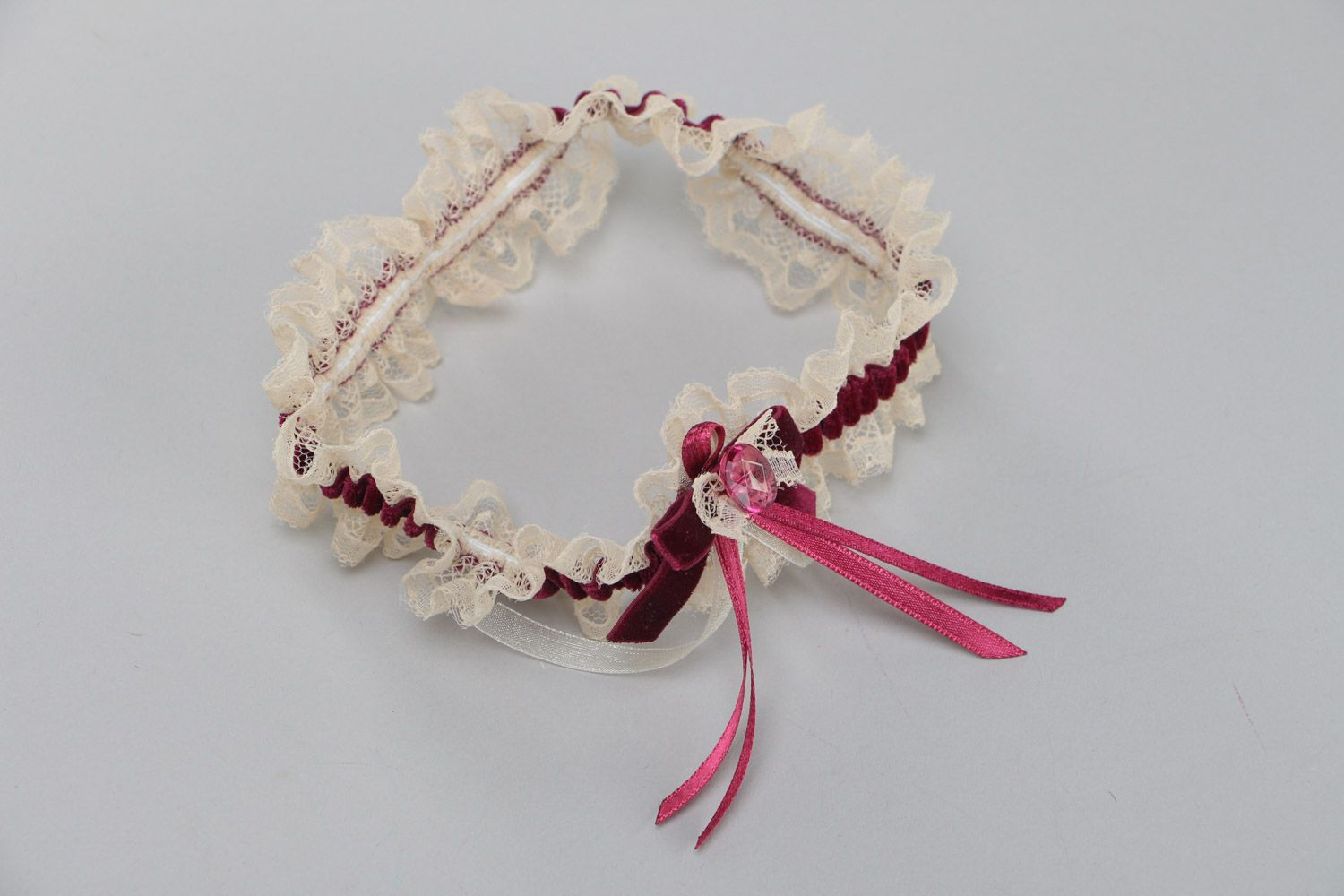 wedding accessories Handmade wedding bridal garter with lace and velor bow of dark violet color - MADEheart.com