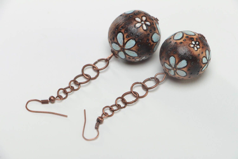 Handmade earrings wooden jewelry designer accessories ball earrings gift for her photo 4