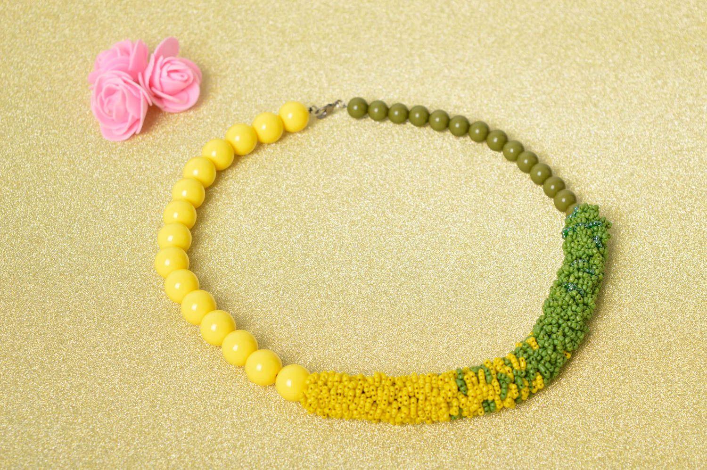 Handmade Schmuck Rocailles Kette Accessoire für Frauen Damen Collier grün gelb foto 1