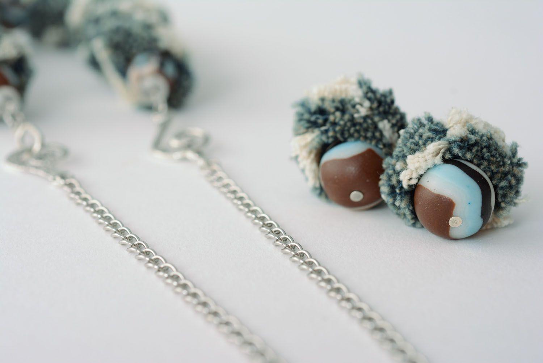 Polymer clay jewelry set photo 4