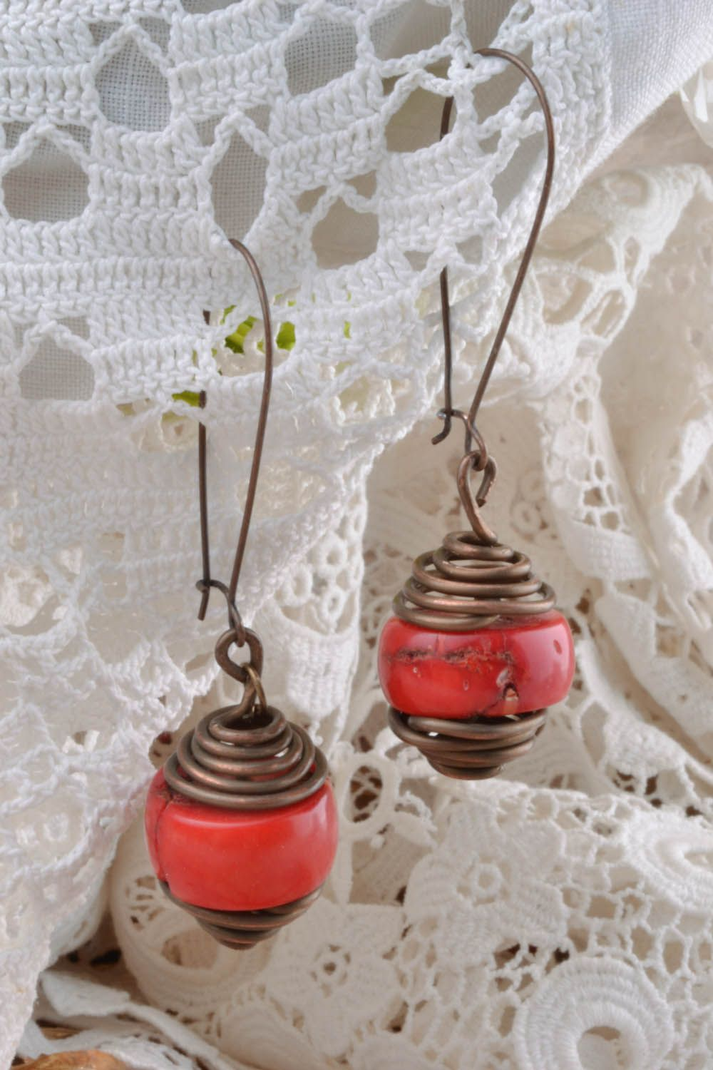Copper earrings with coral  photo 5