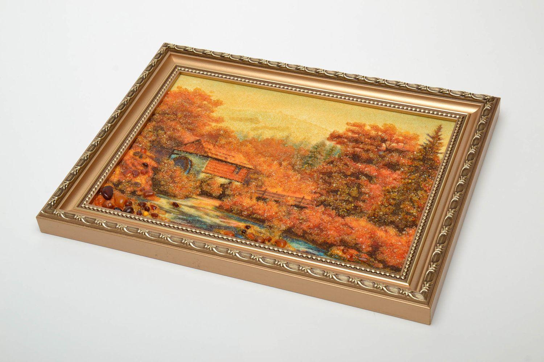 Tableau paysage en ambre mural fait main photo 2