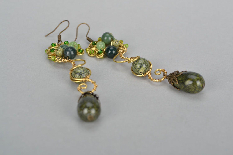 Handmade metal earrings with natural stones photo 4