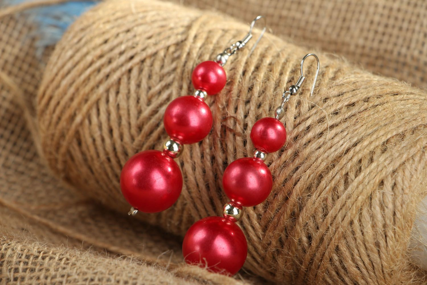 Long earrings with red beads photo 4