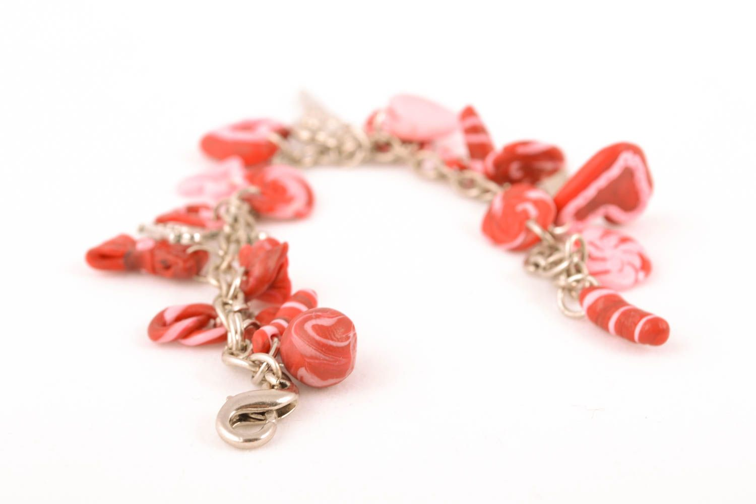 Polymer clay wrist bracelet St. Valentine's Day photo 2