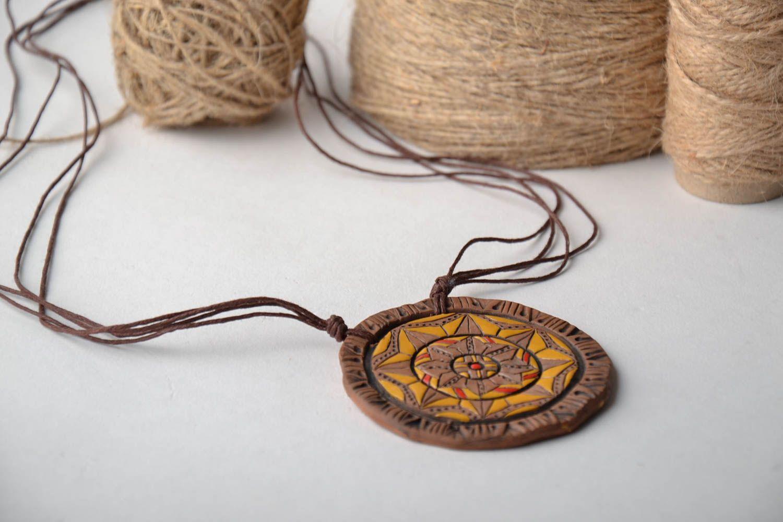Ceramic pendant with ornament photo 1