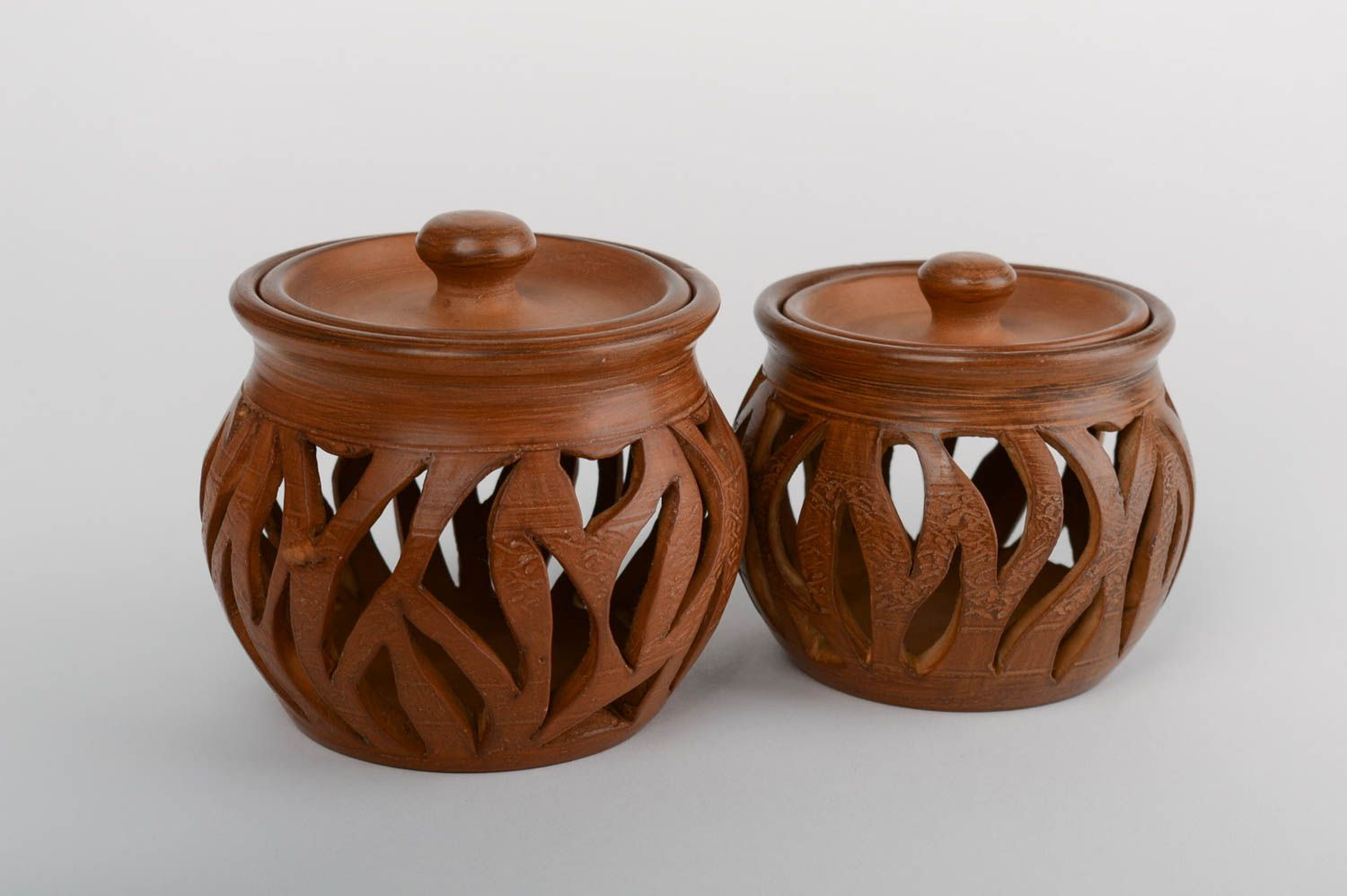 Set of 2 handmade designer carved clay aroma lamps with lids 2 pieces photo 2