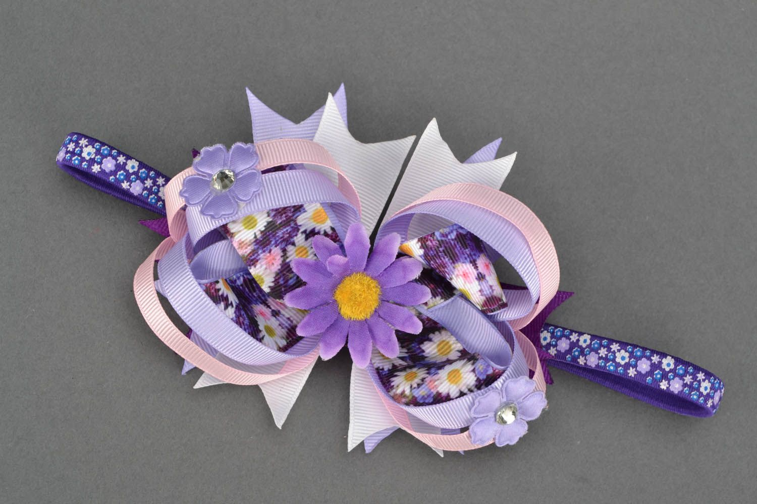 Homemade headband with lilac flowers photo 1