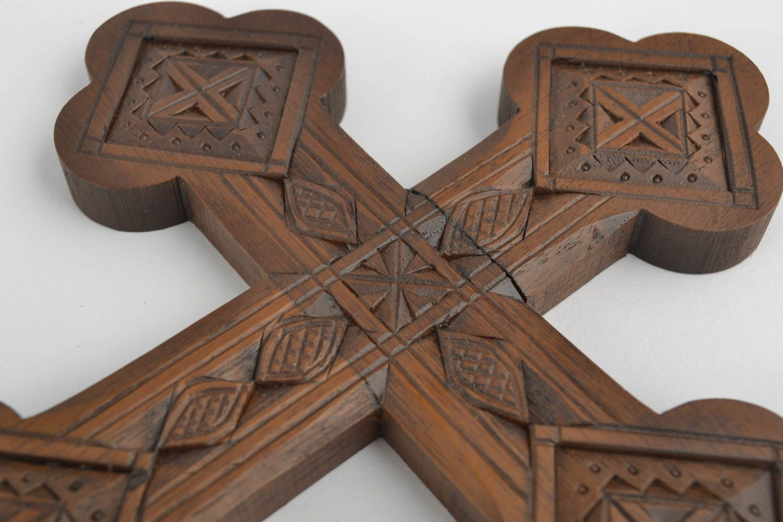 Handmade carved cross unusual wall decoration interior decor wooden cross photo 2