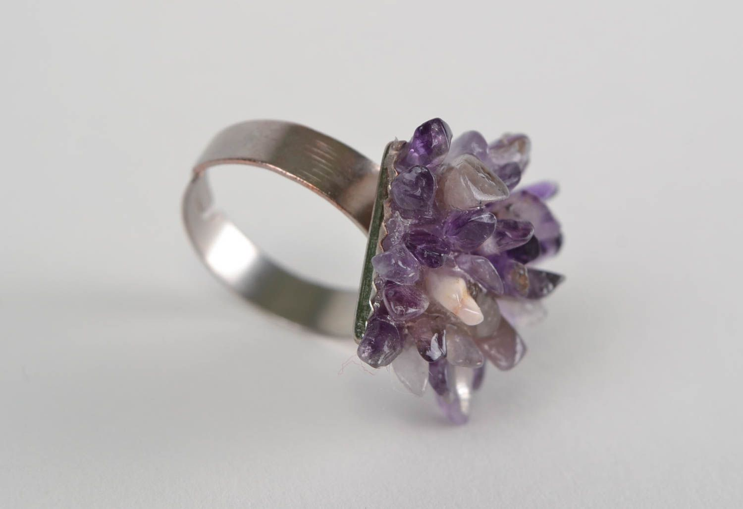 Square-shaped ring with natural stone amethyst beautiful handmade accessory photo 2