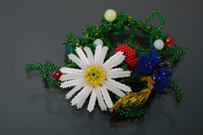 Цветочный браслет из бисера Украиночка фото 1
