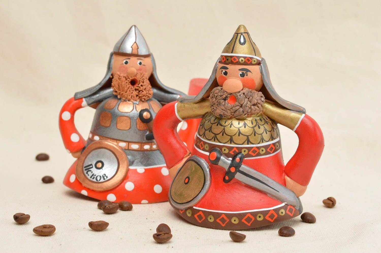 Set of red clay bells handmade ceramic painted bells interior decor ideas  photo 1