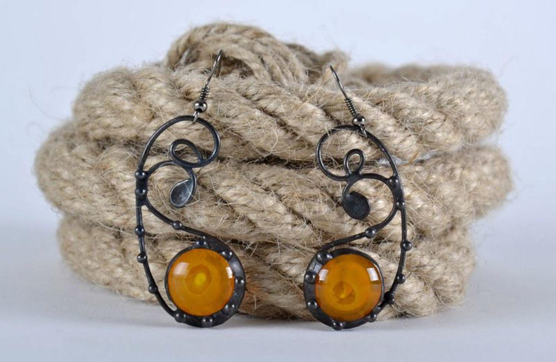 Beautiful long glass earrings photo 2