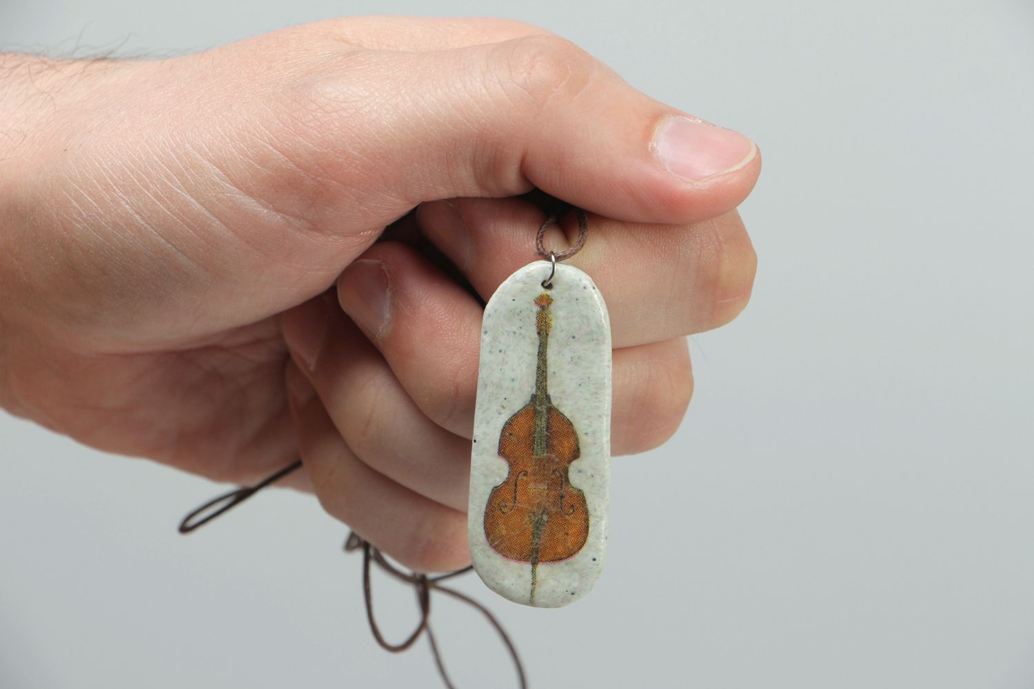 Handmade polymer clay pendant Contrabass photo 3