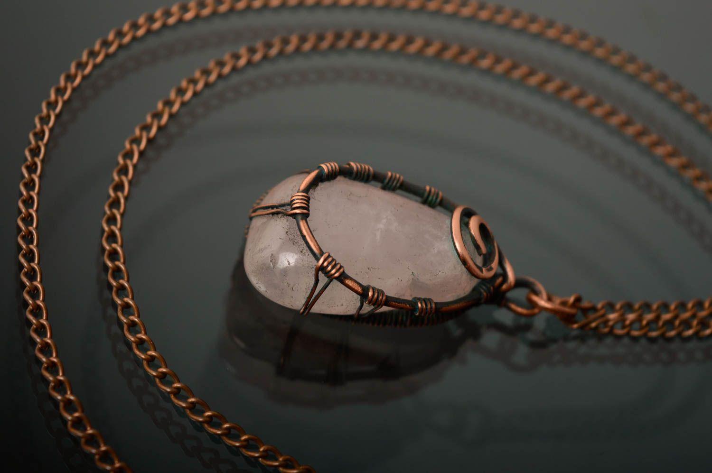 Copper pendant with pink quartz photo 4