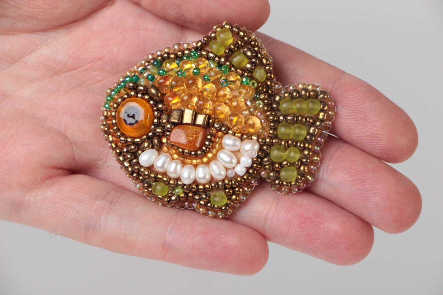 Small handmade designer brooch with bead embroidery and amber Fish photo 5