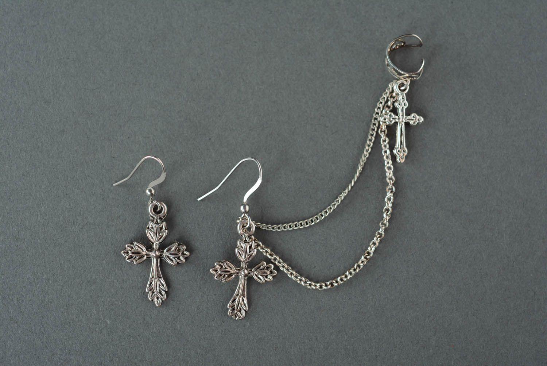 Cuff earrings Lace Cross photo 2