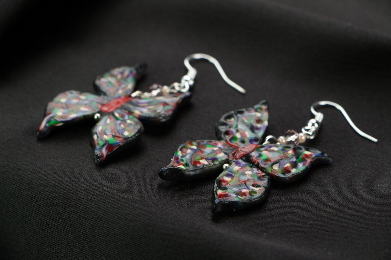 Polymer clay earrings Butterflies photo 2