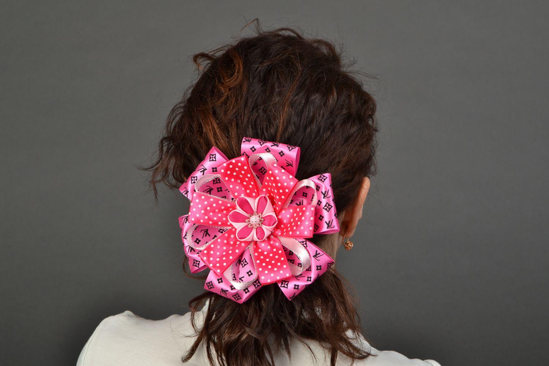 Set of bright hair ties with large ribbon bows Pink photo 2