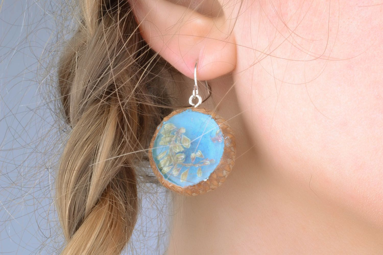 Earrings with dried flowers Acorns photo 1