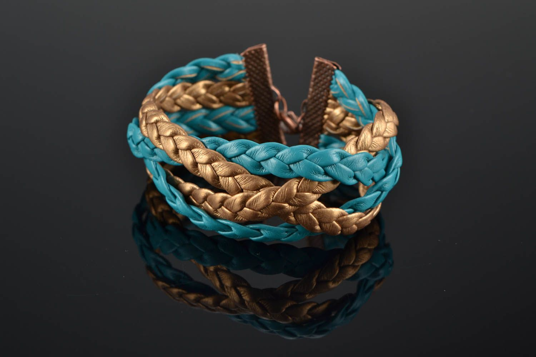 Плетеный кожаный браслет фото 1