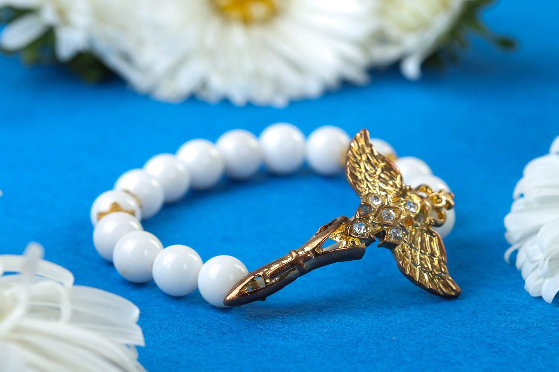 Handmade designer beaded bracelet unusual tender jewelry bracelet with charm photo 1