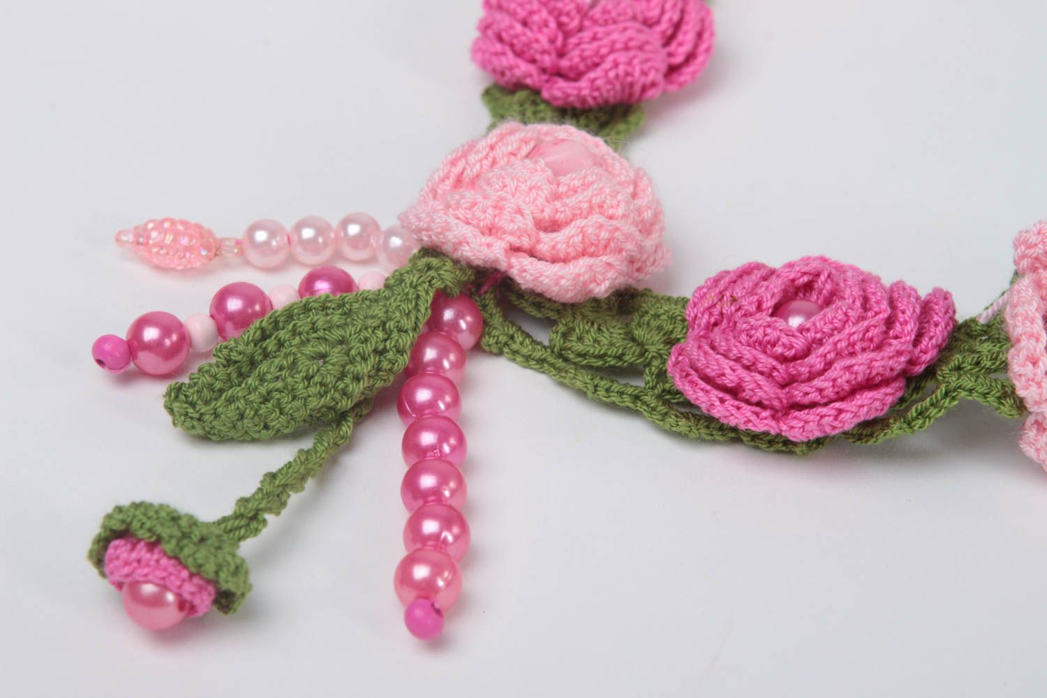 Handmade textile necklace crocheted flower necklace stylish accessory gift photo 3